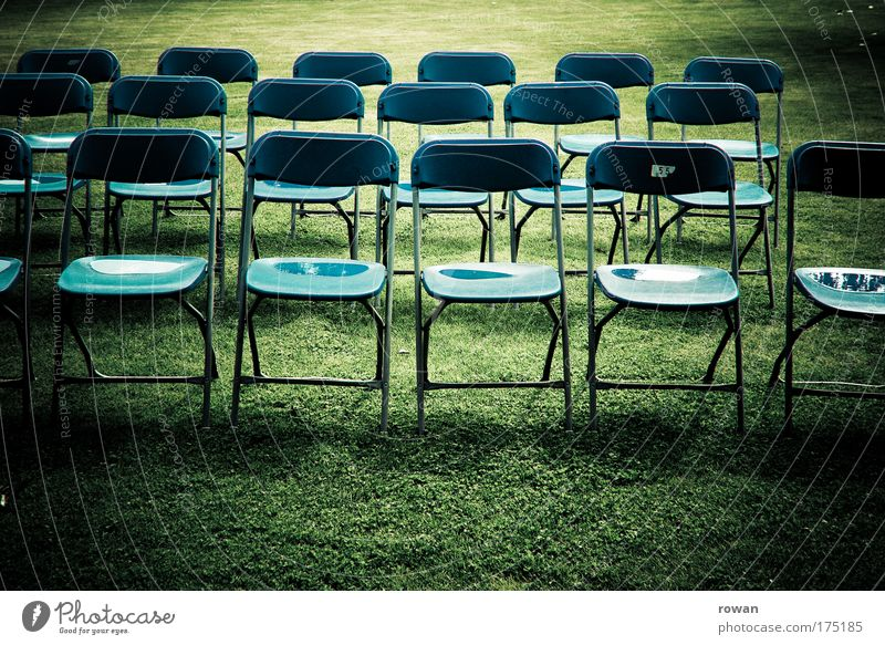 green classroom Colour photo Subdued colour Exterior shot Day Chair Expectation Boredom Group of chairs Seat Audience Green Wet Shadow Lawn Lessons Empty