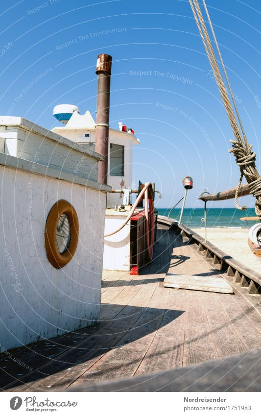fishing cutter Summer vacation Beach Ocean Work and employment Profession Workplace Agriculture Forestry Logistics Machinery Water Cloudless sky