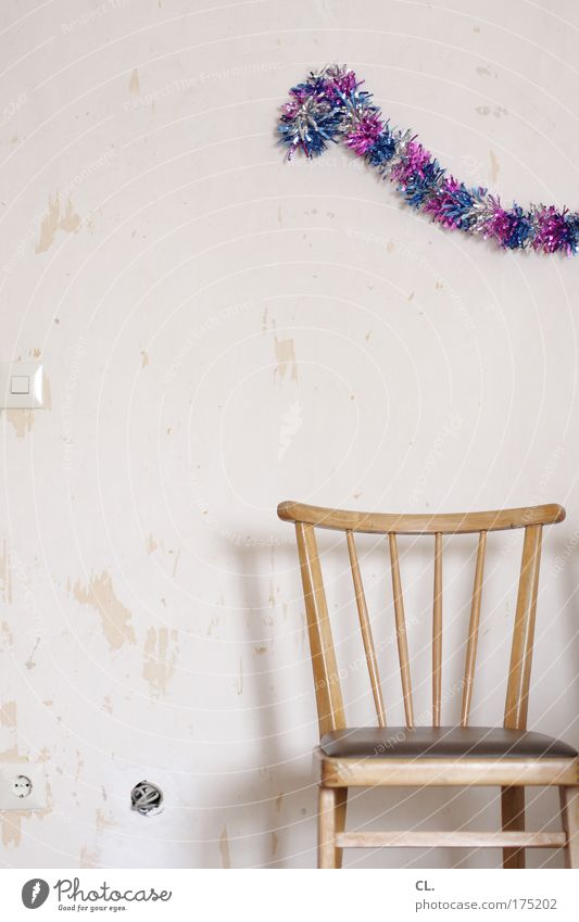 Joy Loneliness Wall (building) Party Wood Wall (barrier) Room Feasts & Celebrations Birthday Jubilee Concrete Beginning Chair Broken Kitsch Decoration