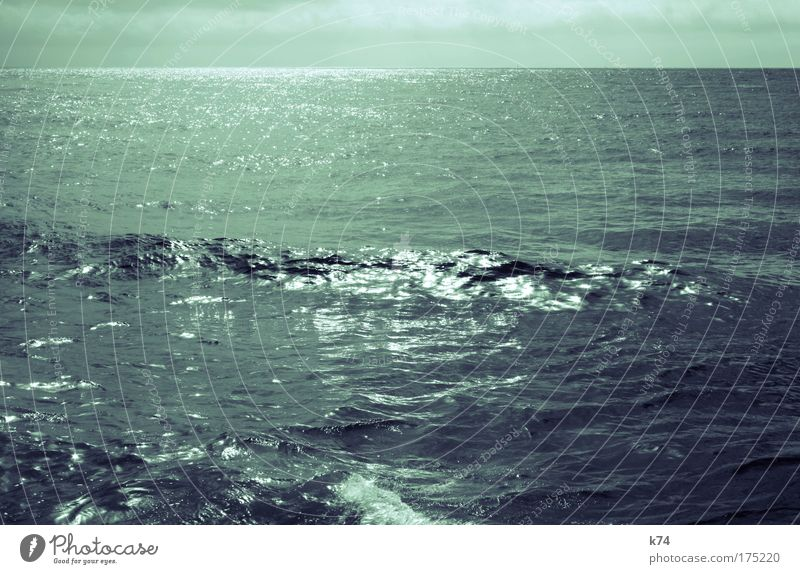 seascape III Subdued colour Exterior shot Shadow Contrast Landscape Water Waves Ocean Movement Glittering Blue Green Joie de vivre (Vitality) Power Calm Horizon