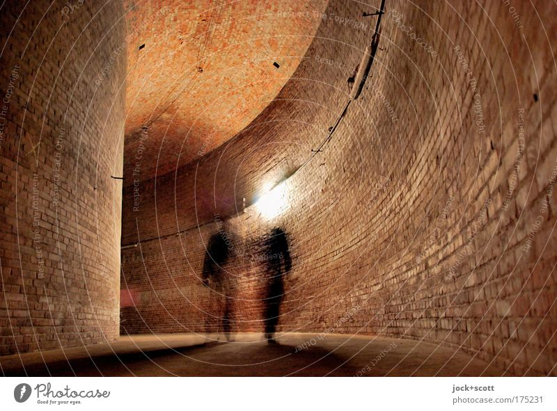 RESERVOIR for two Cistern Wall (building) Storehouse Brick Large Brown Moody Together Serene Round Vault Illusion Structures and shapes Artificial light Shadow