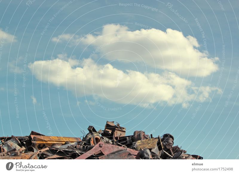 All garbage or what? (2) Scrap metal Scrapyard electronic scrap Trash Dispose of Secondary raw material Garbage dump mountain of rubbish industrial waste Sky