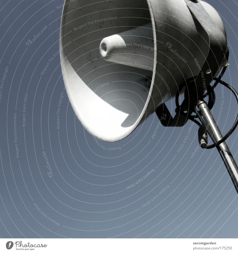 Blue Metal Music Esthetic Cool (slang) Technology Threat Telecommunications Scream Loudspeaker Stadium Megaphone Football pitch Volume Cloudless sky