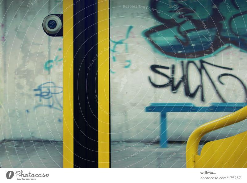 Now press 'get out'... Means of transport Public transit Train travel Tram Platform Station Graffiti Dirty Boredom Revolt Resign