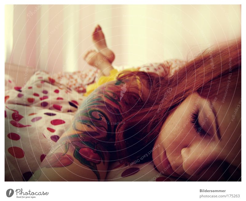 lullaby Bedroom Human being Feminine Young woman Youth (Young adults) Woman Adults Head Hair and hairstyles Feet 1 18 - 30 years Tattoo Red-haired Long-haired