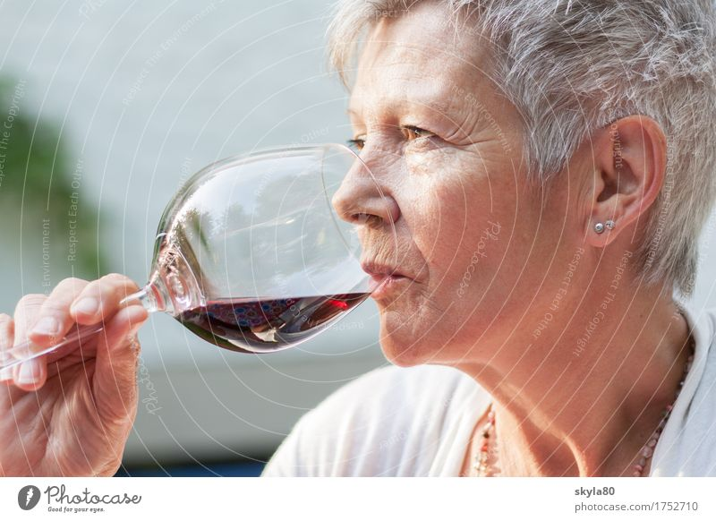 Pleasurable Woman Vine Red wine Drinking Beverage To enjoy Mature Mother Lady Gray-haired Hair and hairstyles Garden 60 years and older Senior citizen