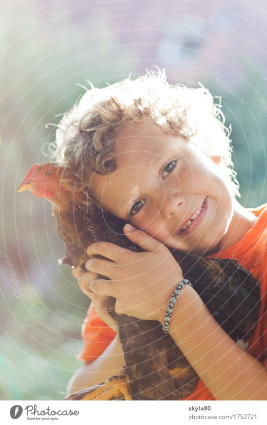 Child Nature Animal Joy Warmth Love Boy (child) Laughter Garden Hair and hairstyles Freedom Infancy Smiling Warm-heartedness Childhood memory