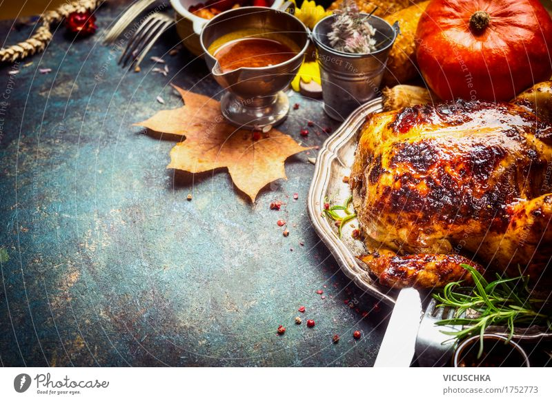 Baked whole chicken served with sauce Food Meat Vegetable Herbs and spices Cooking oil Nutrition Buffet Brunch Banquet Slow food Crockery Cutlery Style Design