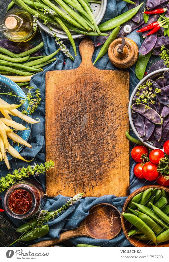 Various colorful peas and beans pods with cooking ingredients Food Vegetable Herbs and spices Nutrition Organic produce Vegetarian diet Diet Crockery Lifestyle