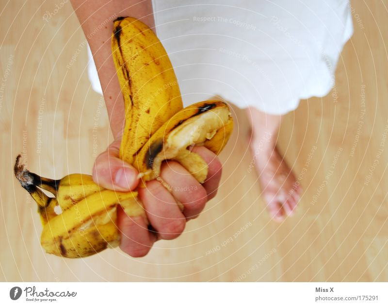 Human being Hand Funny Feminine Food Fruit Nutrition Dangerous Anger Force Aggression Muscular Disgust Juice Hatred Banana