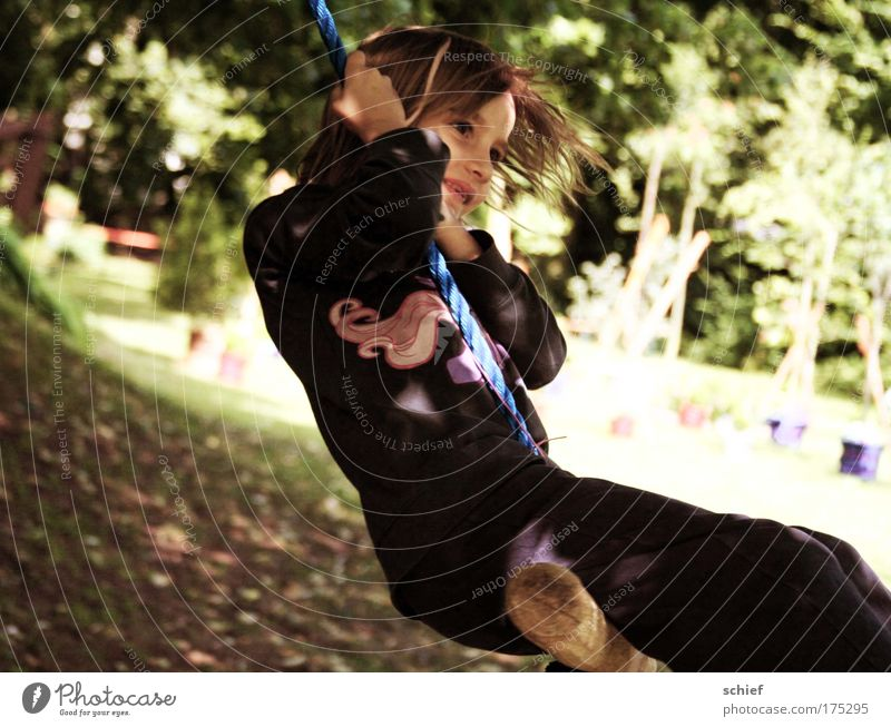 child's play Colour photo Exterior shot Day Light Shadow Portrait photograph Full-length Joy Life Leisure and hobbies Children's game Summer Garden To swing