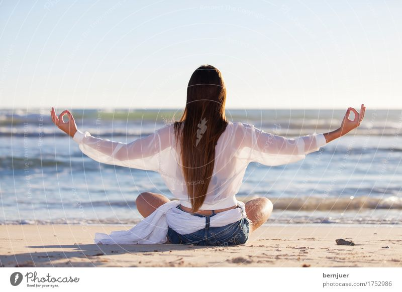 yoga Lifestyle Beautiful Relaxation Calm Meditation Summer Beach Ocean Sports Yoga Woman Adults Nature Sand Water Fitness Sit Thin Stress Peace youthful Healthy