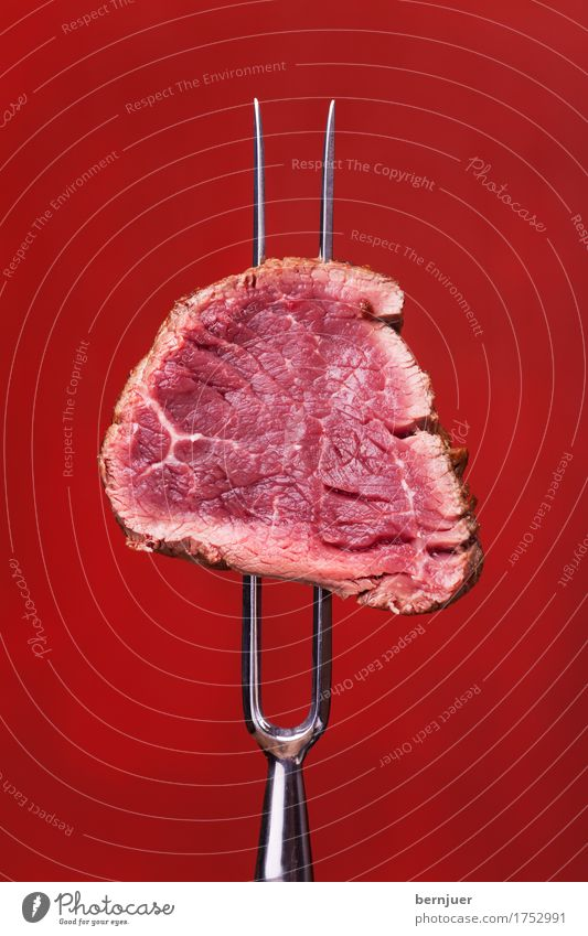 red on red Meat Dinner Fork Media Barbecue (apparatus) Dark Fresh Large Retro Juicy Red Steak Carving fork Beef beef steak boil Background picture Eating Raw