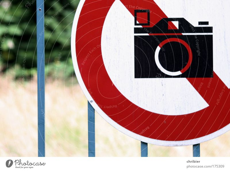 Blue White Red Metal Signs and labeling Design Safety Signage Camera Fence Symmetry Bans Aggravation Take a photo Frustration