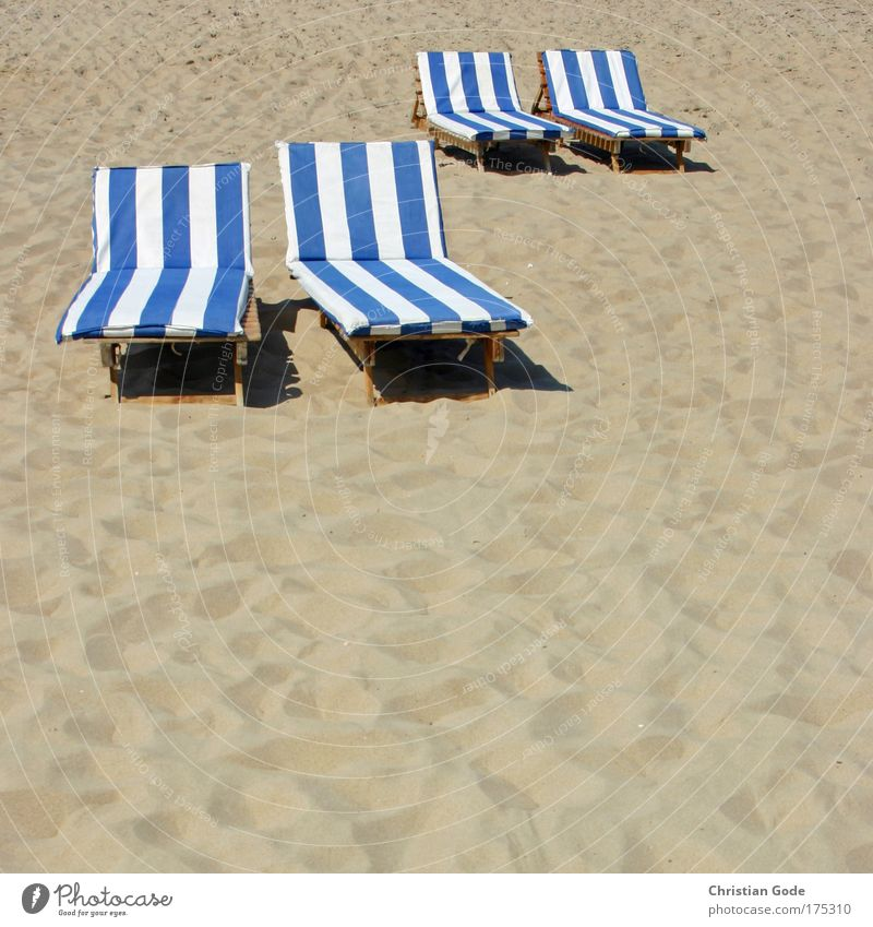 partner loungers Sand Blue Lie Couch Stripe Sandy beach Vacation & Travel Vacation destination Footprint Blue-white White Yellow Beach Beach life Belgium