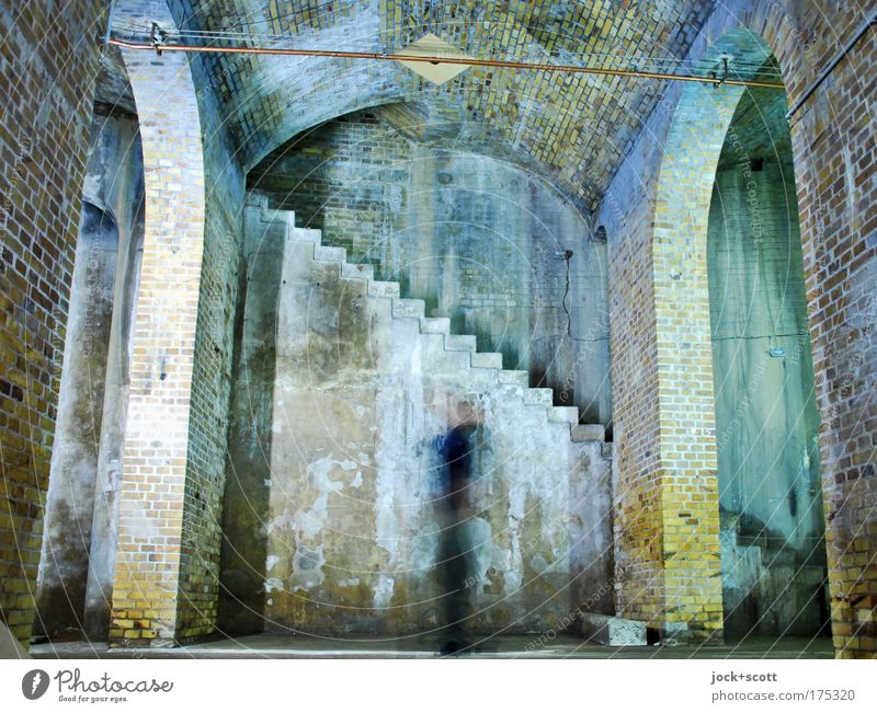 Large memory 1 Human being Berlin Manmade structures Architecture Wall (building) Stairs Storehouse Room Stone Brick Movement Rotate Old Historic chill Moody