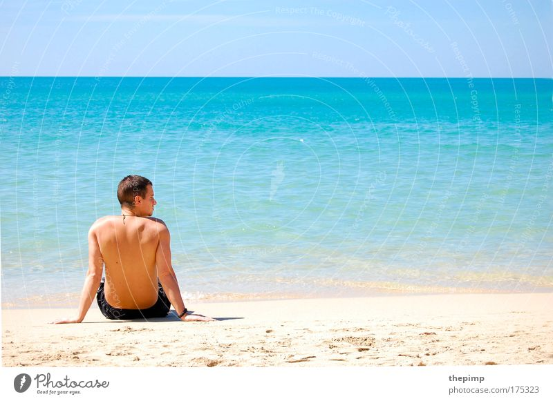 Human being Man Youth (Young adults) Water Sun Ocean Summer Beach Vacation & Travel Far-off places Relaxation Freedom Think Sand Landscape Waves