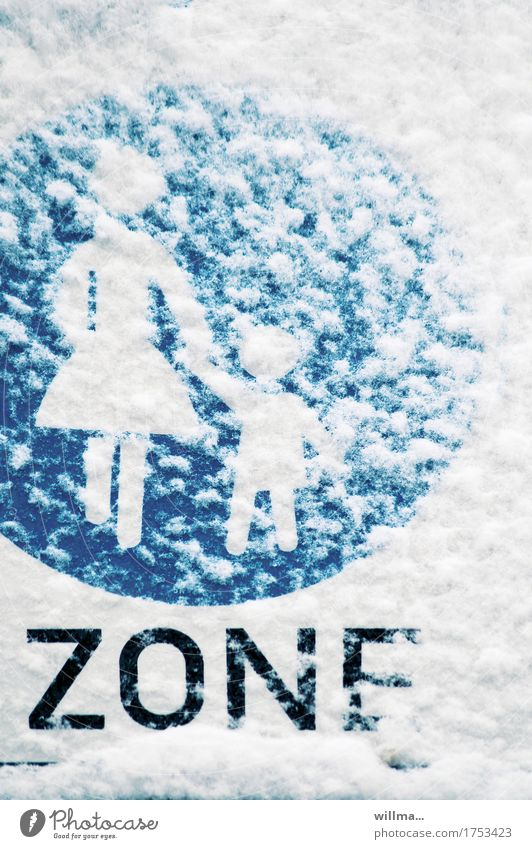 Mother and child on a winter walk Snow Road sign Pedestrian Footpath Blue White Zone Pedestrian precinct Mother with child snow-covered Winter