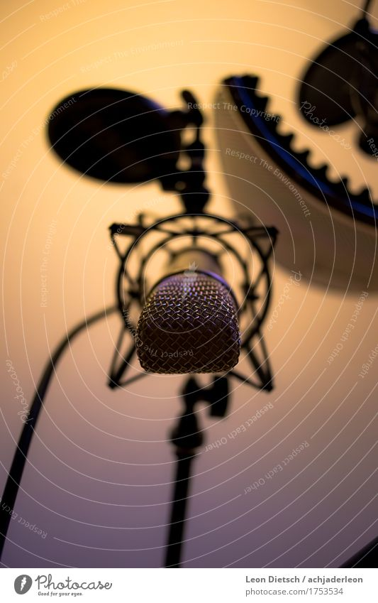 Large diaphragm microphone, pendant Microphone Music Singer Radio (broadcasting) Glittering Cold Warmth Blue Yellow Gold Gray recording Recording studio