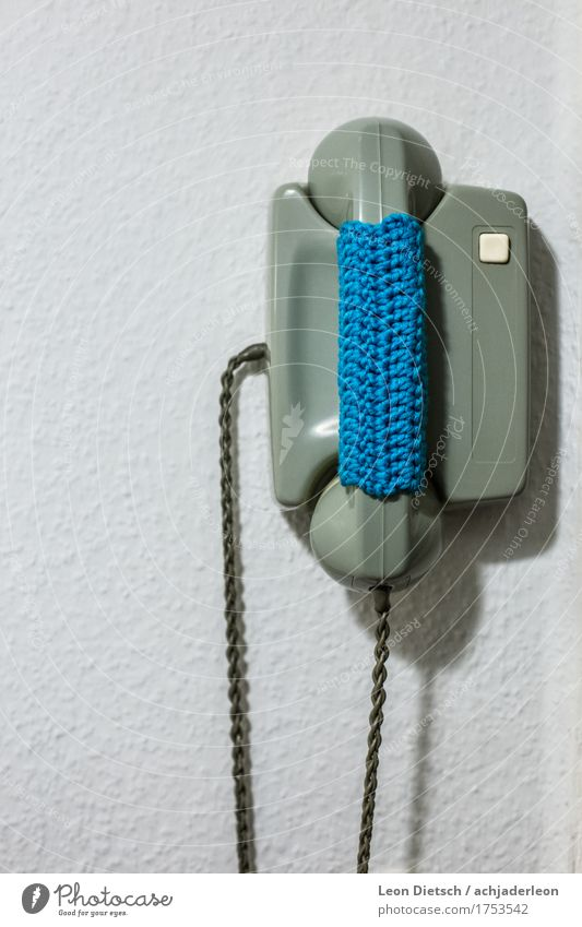Crocheted telephone Telephone Intercom system Telecommunications Low-tech Decoration Old Retro Soft Wool Knitted Receiver Green Blue Colour photo Subdued colour