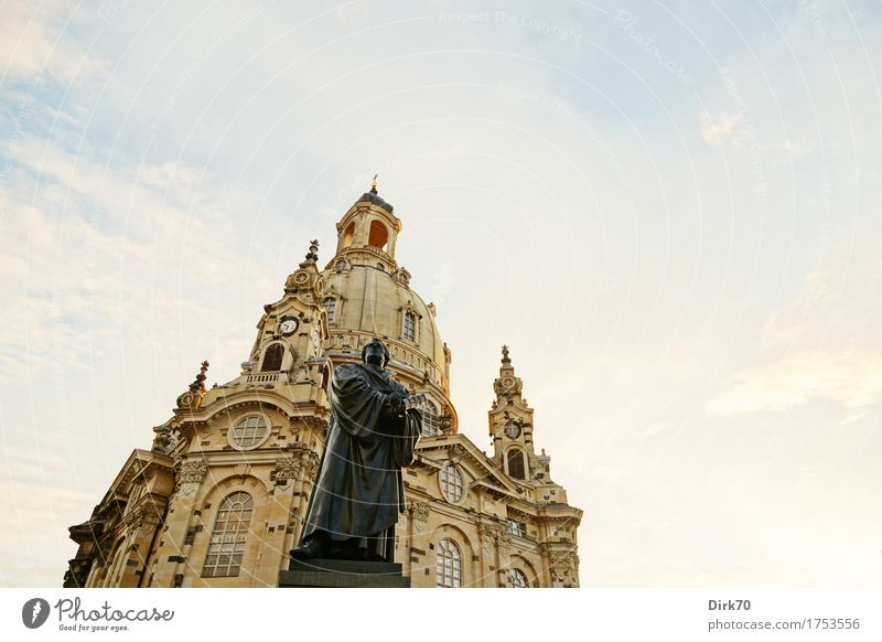 Luther and his Castle Tourism Sightseeing City trip Sculpture Martin Luther Statue Sky Clouds Sunlight Beautiful weather Dresden Saxony Downtown Old town Church
