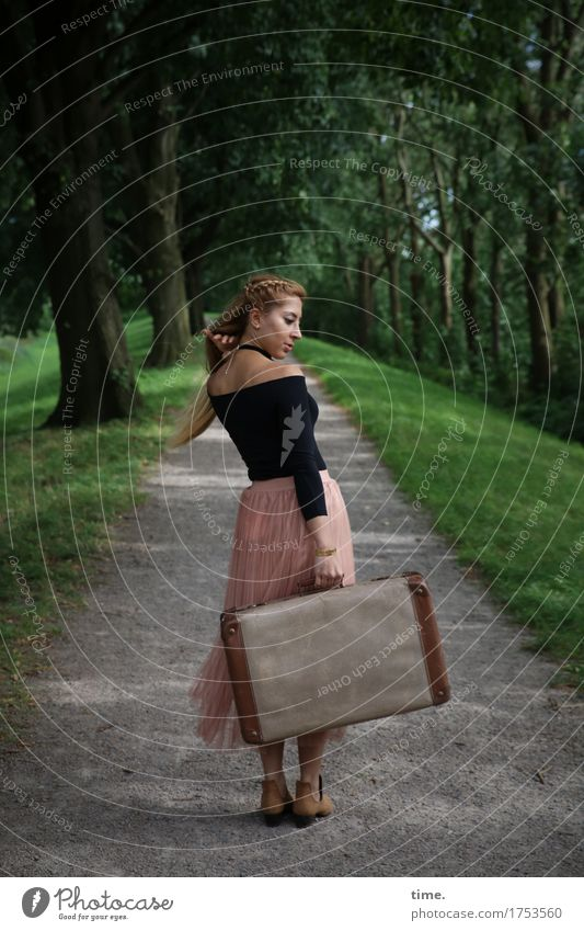 . Feminine 1 Human being Beautiful weather Tree Park Avenue Shirt Skirt Blonde Long-haired Suitcase Observe Rotate Going Looking Stand Wait Watchfulness Life