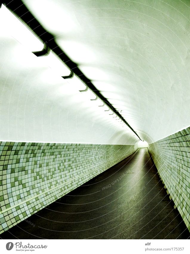 Architecture Empty Round Tunnel Underground Tunnel vision Vanishing point Bright spot Fluorescent Lights Building line Pedestrian underpass