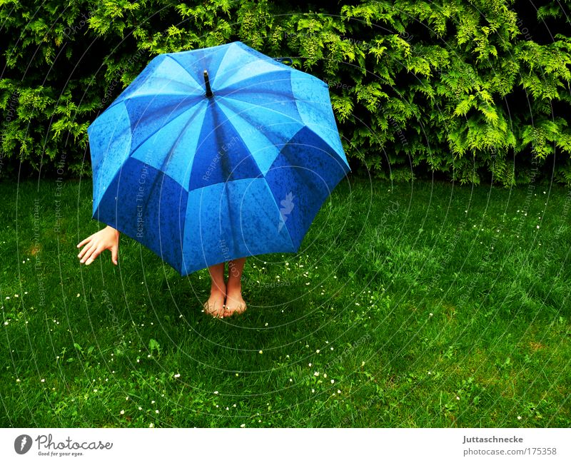 After the rain comes the sun Umbrellas & Shades stretch Weather Rain spanned Protection guard sb./sth. Bad weather Optimism Hand leg Feet Grass Meadow