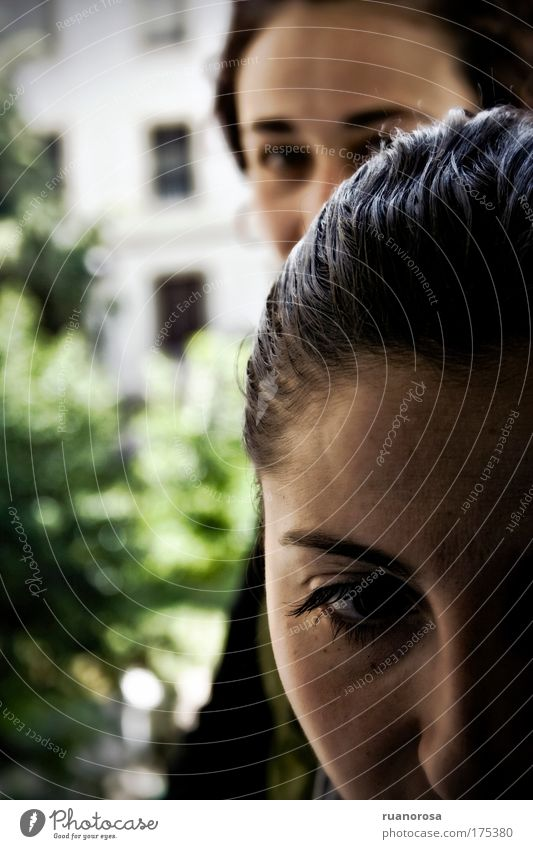 Colour photo Exterior shot Close-up Evening Contrast Human being Feminine Woman Adults Skin Head Hair and hairstyles Face Eyes Nose 2 Disgust Together Gloomy