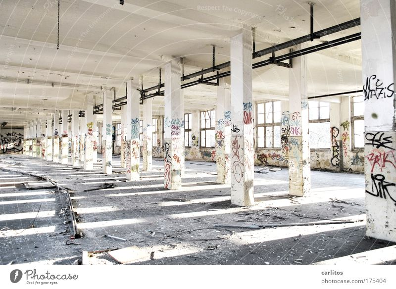 Old White Loneliness Window Sadness Graffiti Bright Dirty Concrete Large Perspective Industry In pairs Factory Broken