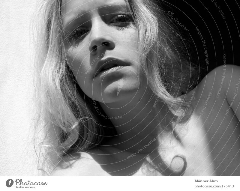 Black or White. Black & white photo Shadow Contrast Sunlight Sunbeam Portrait photograph Feminine Young woman Youth (Young adults) Woman Adults Skin Head
