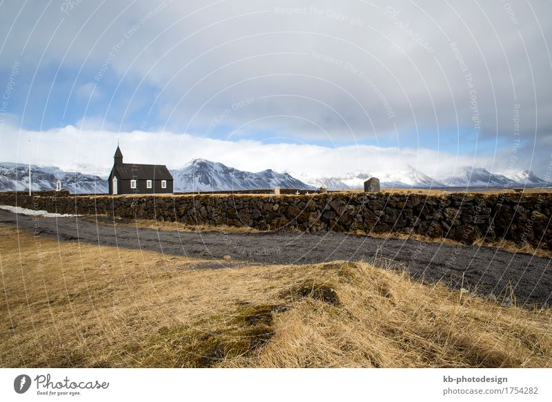 Black Church of Budir in Iceland Vacation & Travel Tourism Adventure Far-off places Village Religion and faith Snæfellsnes faithful landscape mountains cemetery