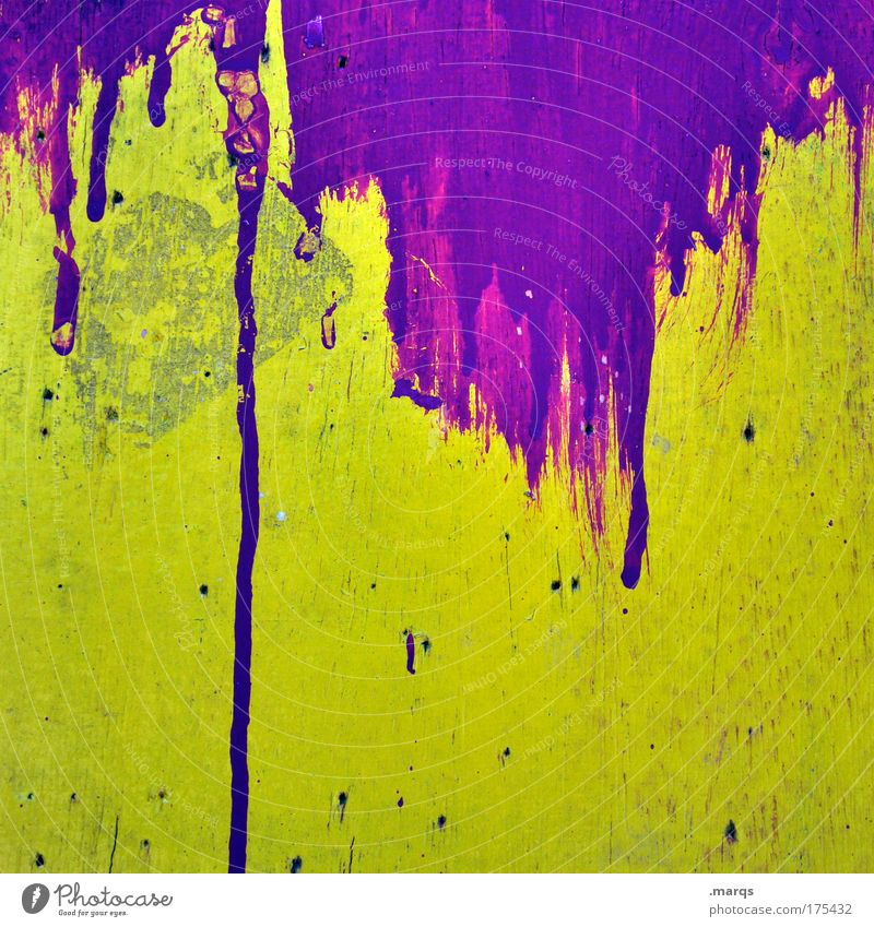 Yellow Wall (building) Graffiti Style Wall (barrier) Art Background picture Dirty Facade Design Exceptional Authentic Crazy Uniqueness Transience Violet