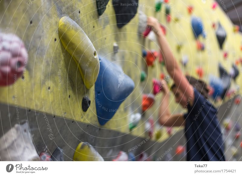 Boulder Hall 1 Leisure and hobbies Sports Fitness Sports Training Bouldering Human being Hand Wall (barrier) Wall (building) Esthetic Colour photo Interior shot
