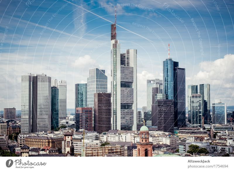 Frankfurt Skyline 1 Clouds Summer Town Downtown High-rise Bank building Architecture Landmark Esthetic Tall Modern station district Banking district