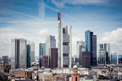 Sky City Summer Clouds Architecture Modern High-rise Esthetic Tall Skyline Landmark Bank building Downtown Frankfurt Banking district