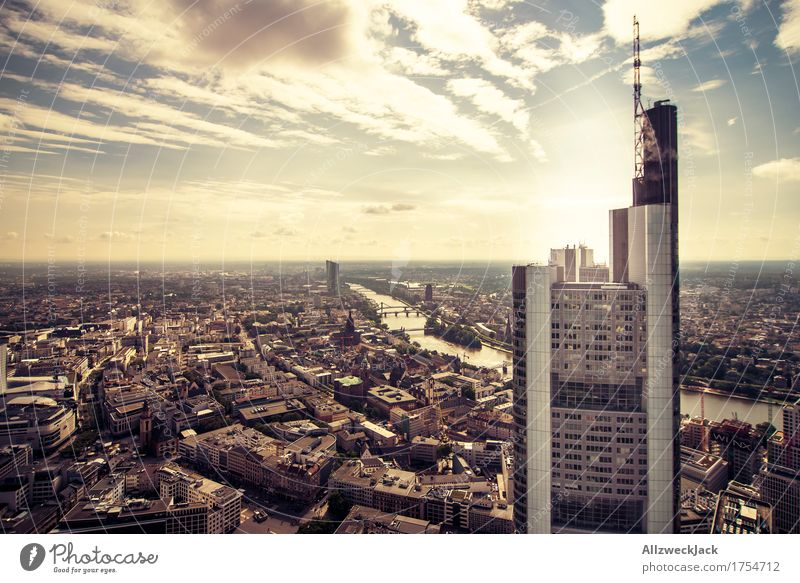 Frankfurt 1 Sky Clouds Summer Hesse Town Downtown Old town High-rise Bank building Dirty Tall Main River Lure of the big city Colour photo Exterior shot