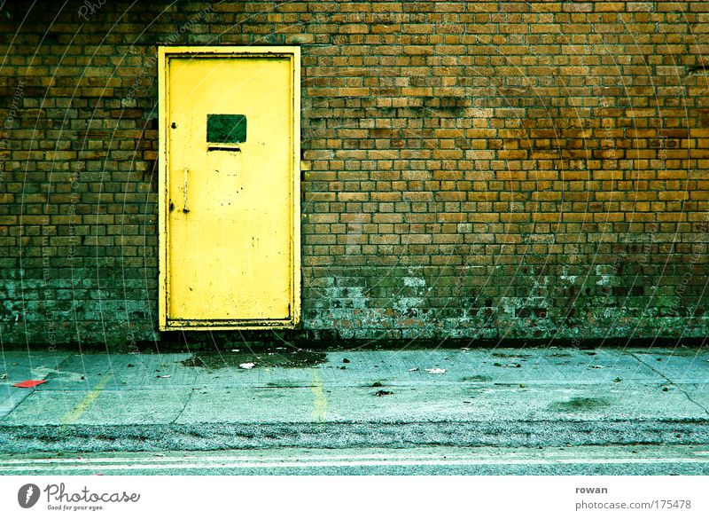 Old City House (Residential Structure) Loneliness Yellow Dark Cold Wall (building) Stone Wall (barrier) Building Dirty Architecture Door Gloomy
