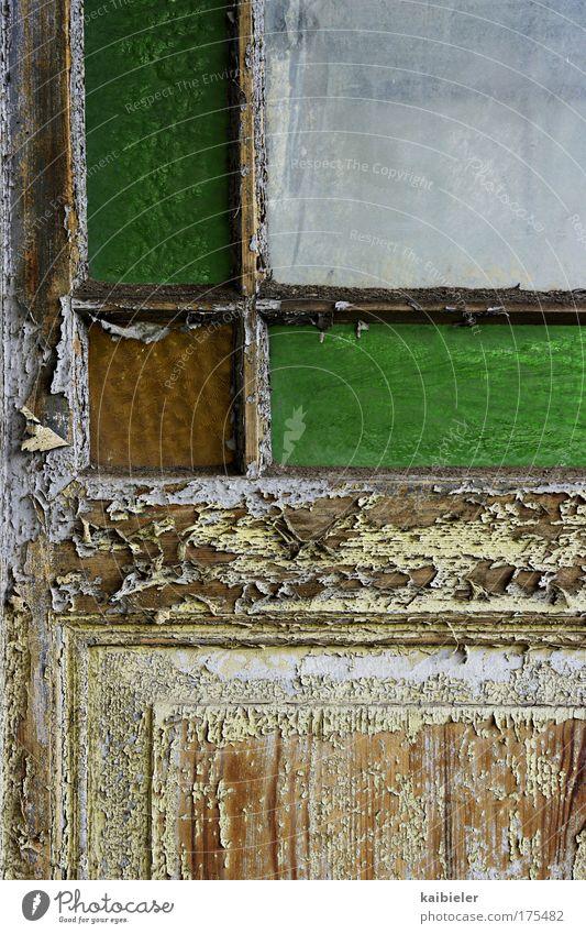 Old Green Wood Brown Door Weather Transience Derelict Decline Past Varnish Pane Loggia Paint traces