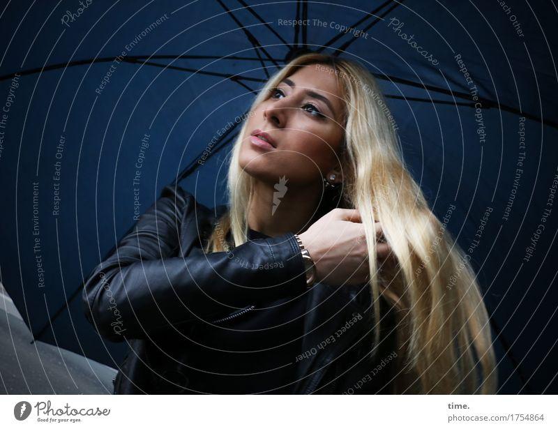 Human being Beautiful Calm Life Feminine Time Blonde Esthetic Stand Wait Observe Umbrella Brave Jacket Watchfulness Inspiration