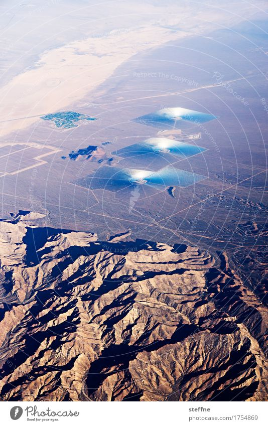 Landscape Exceptional Technology Energy Future Climate USA Desert Solar Power Solar cell Climate change Renewable energy California UFO View from the airplane