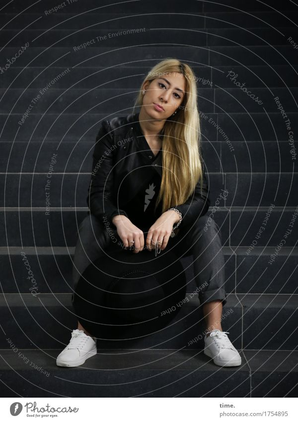 . Feminine 1 Human being Stairs Pants Jacket Jewellery Chain Footwear Blonde Long-haired Observe Think Looking Sit Wait Beautiful Self-confident Caution Serene