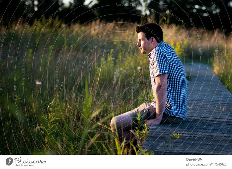 on the jetty Human being Masculine Young man Youth (Young adults) Man Adults Life 1 Environment Nature Landscape Summer Plant Bushes Park Lake River Observe