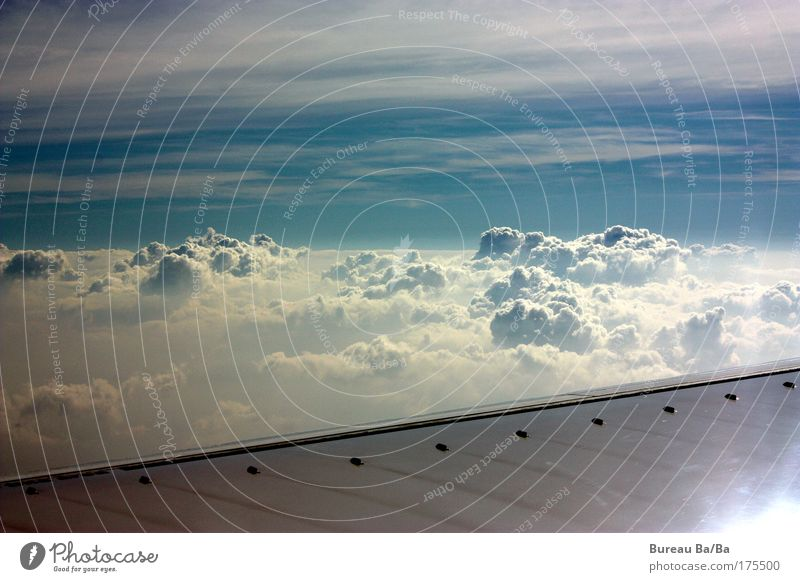 reverie Exterior shot Aerial photograph Deserted Day Air Sky Clouds Sun Moody Airplane Aviation Blue White Wing Flying Freedom Infinity