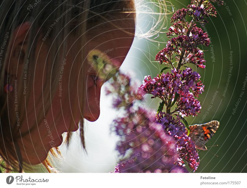 Hello butterfly! Colour photo Multicoloured Exterior shot Day Sunlight Worm's-eye view Profile Human being Feminine Child Girl Head Hair and hairstyles Face Ear
