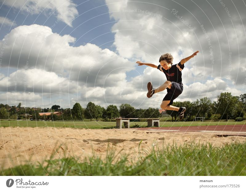long jump Joy Healthy Playing Vacation & Travel Summer Sports Fitness Sports Training Track and Field School sport Sandpit Stadium Long jump Masculine Child