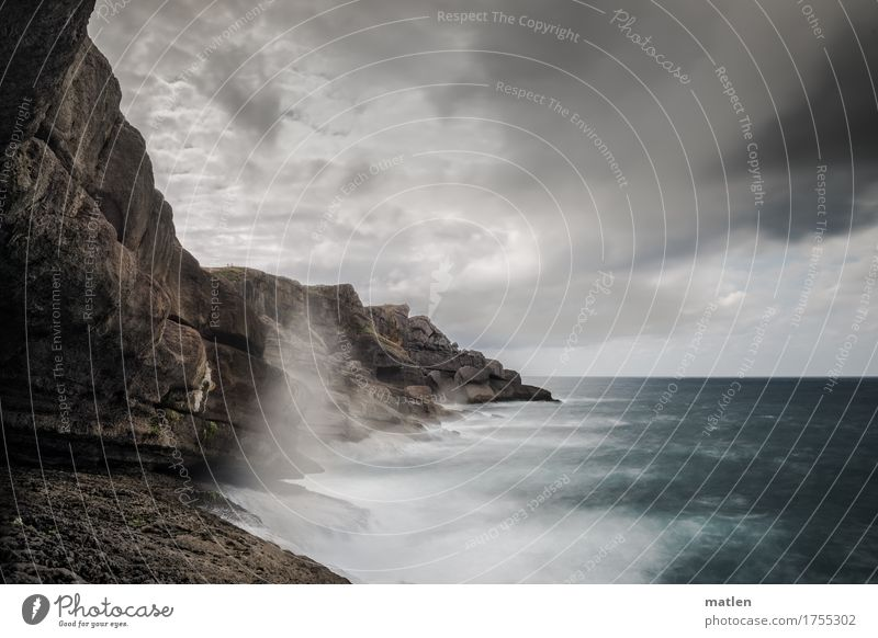 Bizkaya Landscape Air Water Sky Clouds Horizon Weather Bad weather Wind Rock Waves Coast Ocean Brown Gray Green White Rough Colour photo Subdued colour
