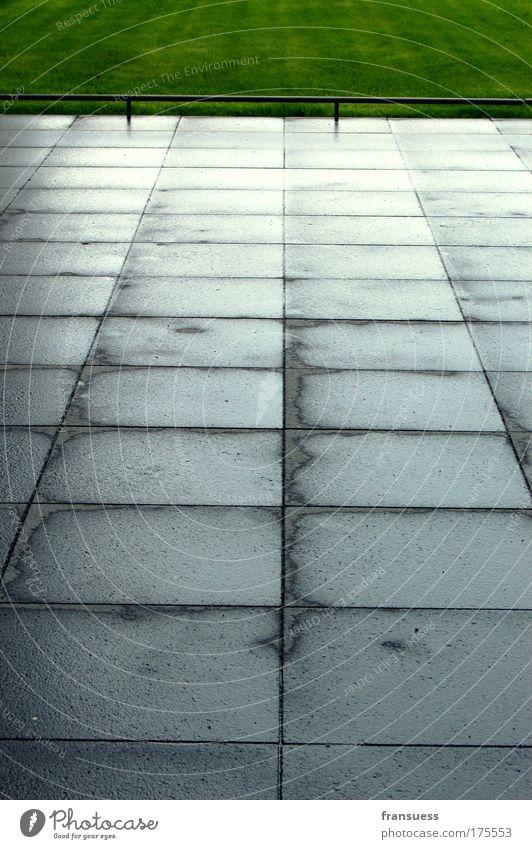 Green Street Grass Gray Lanes & trails Rain Line Concrete Arrangement Lawn Asphalt Geometry Direct Demanding