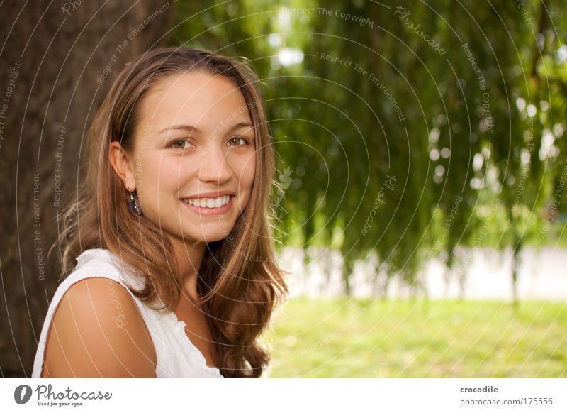 Beauty II Colour photo Exterior shot Copy Space right Day Flash photo Shallow depth of field Central perspective Portrait photograph Upper body Looking