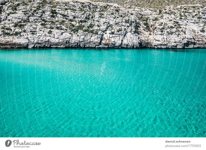 Mallorca Vacation & Travel Summer Ocean Waves Nature Elements Water Rock Coast Bay Blue Gray Loneliness Calm Colour photo Exterior shot Deserted